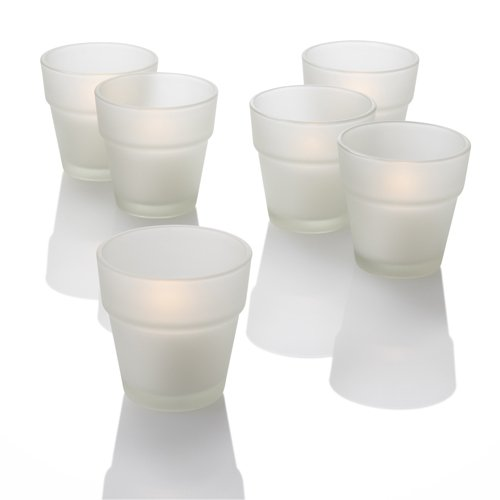 Set of 12 Frosted Flower Pot Votive Holders & 12 Votive Candles, Orange Unscented