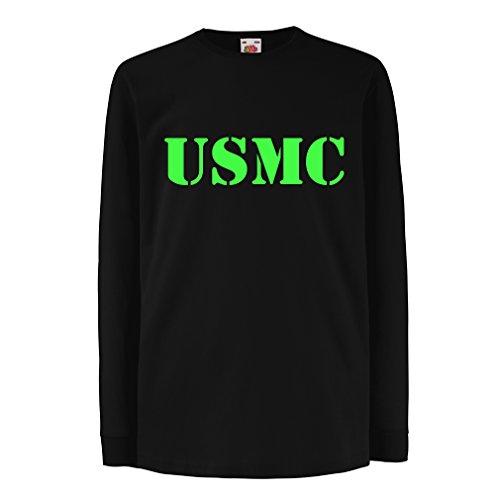 Funny t shirts for kids Long sleeve US marine t shirt army t shirts Marines USMC logo (3-4 years Black Green)