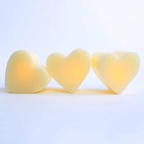 Set Of 3 Mini 3D Heart Flameless Candles