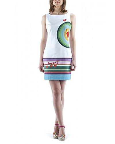 Desigual Damen Etui Kleid SAVANNA, Gestreift, Gr. 36 (Herstellergröße: 38), Weiß (Blanco 1000) thumbnail