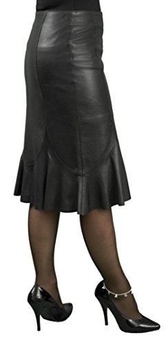 Ashwood Soft Real Genuine Nappa Leather Fluted Hobble Skirt (below knee length) (Black or Matt Red)