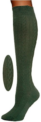 Textured Cable Knit Knee High Socks By Foot Traffic In Sage One Size 4-10