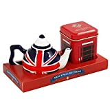English Tea - Mini Tea Pot and Tea Selection Union Jack Miniature Teapot with English Breakfast Tea in Miniature Telephone Tin - GP08