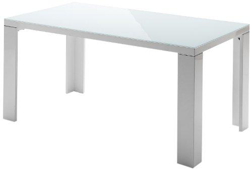 Vierfutisch-Tizio-Tischplatte-Hochglanz-wei-lackiert-Glasplatte-Beine-mit-Aluminiumapplikation-Farbe-wei-Mae-in-BHT-ca-140x76x90-cm