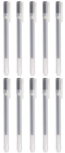MoMa MUJI Gel-Kugelschreiber, 0,38 mm, Schwarz, 10 Stück