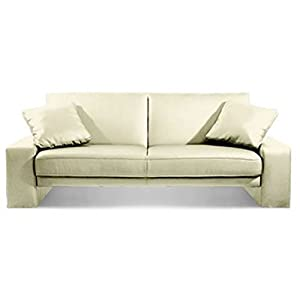 Sofabed leather faux leather cream double ratchet fold for Sofa bed amazon uk