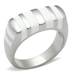 RIGHT HAND RING - White Stripe Enamel High Polished Stainless Steel Ring