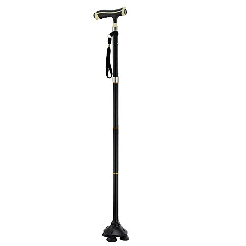 Anpress Adjustable Handle Folding Smart Cane with LED Light, 30-Inch to 38-inch