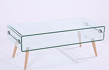 HOGAR DECORA - Mesa de centro cristal y madera 110X55 cm