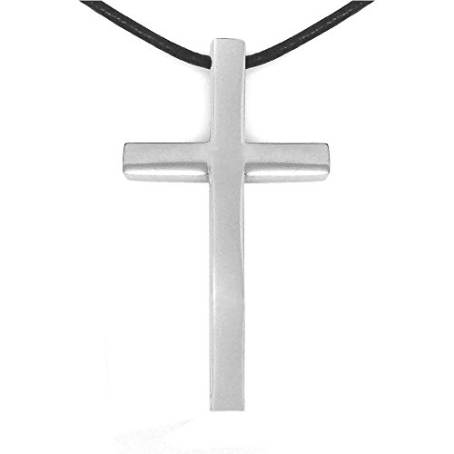 Large-Mens-Simple-Stainless-Steel-Cross-Necklace-16-24-Inch-Leather-Necklace-Cord