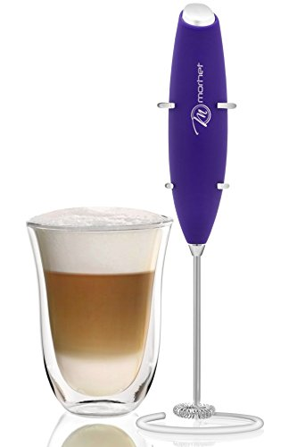 Handheld Coffee / Milk Frother by Morhet Stainless Steel Whisk-Electric Battery Operated Home Foam Maker Homemade Milkshake Whipped Cream Powdered Chocolate Beverage Protein Drink Mixer - Purple