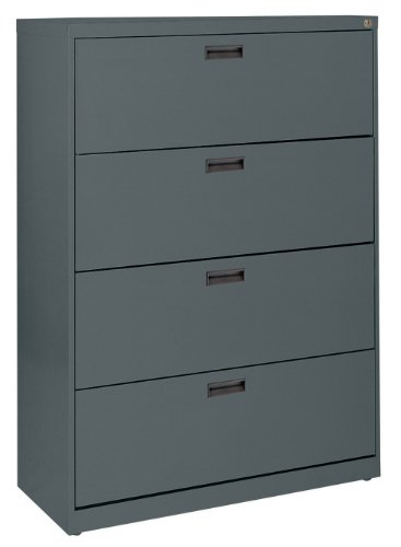 Sandusky 400 Series Charcoal Steel Lateral File Cabinet with Plastic Handle, 30