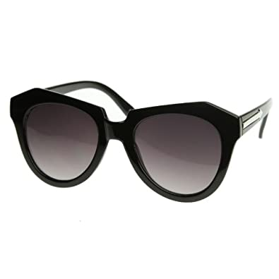 zeroUV® - Modern Thick Cat Eye / Wayfarer Cross Sunglasses Edgy Retro Style Eyewear (Black)