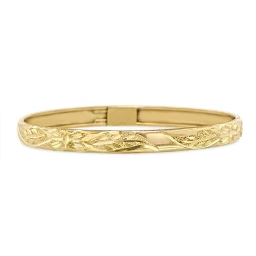 Children / Teen 14K Yellow Gold Flexible Bangle 4.7mm Wide Coupon 2015