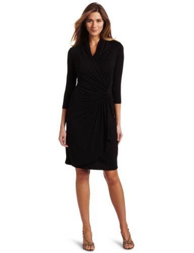 karen-kane-womens-3-4-sleeve-cascade-wrap-dress-black-large