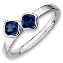 0.79ct Silver Stackable Db Cushion Cut Sapphire Band. Sizes 5-10 Available