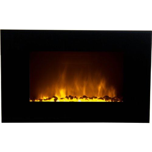 Frigidaire OWF-10303 Oslo Wall Hanging LED Fireplace with Color-Changing Flame Effect and Remote Control - Black photo