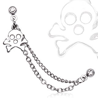 Gekko Body Jewellery Surgical Steel 16 Gauge (1.2mm) Clear CZ Gem Chained Cartilage / Helix Earring with Gothic Skull Charm
