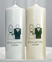 Bride and Groom Personalized Unity Candle - Ivory