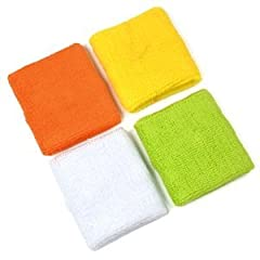 4 Pair of Coollife (Tm) Yellow orange white light Green Cotton Sports Basketball... by Coollife (Tm)