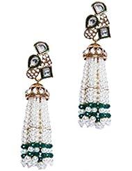 Viva 22K Gold Plated Green & Cream Pearl Dangle & Drop Earrings For Women/Girls
