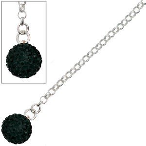 Jewelry - Women - anklet 'ball'- 925 / - Silver, with glass stones, about 26 cm long