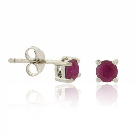 Sterling Silver Genuine Ruby Stone Prong 4mm Round Stud Earrings