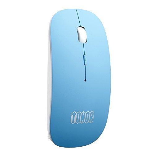 TONOR bunt matt dünn slim schlank aufladbar still Bluetooth 3,0 lautlose kabellos schnurlos Funkmaus wireless Maus 800/1200/1600 DPI für PC Mac Tablet Laptop, ohne Klickgeräusche Blau