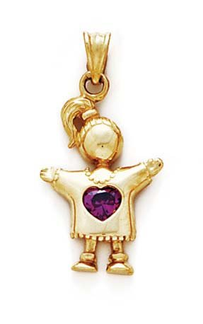 14k Amethyst-Purple Heart Birthstone Girl Pendant 1 1/8 Inch - JewelryWeb