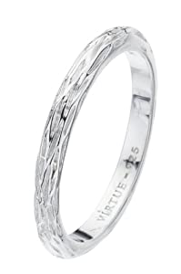 Virtue Silver StackableVRS1005 Plain Band Lined Shank Ring - Size N