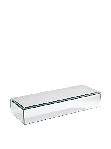 Studio Silversmiths Oblong Long Mirrored Glass Rectangular Jewelry Trinket Dresser Vanity Box Container Holder Organizer Lined With Black Velvet Interior