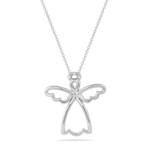 Sterling Silver Angel with Diamonds Pendant Necklace (0.01 cttw, I-J Color, I2 Clarity), 18