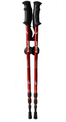 Arakan 3 Section Adjustable Hiking / Snowshoeing Poles - Red ColorArakan 3 Section Adjustable Hiking / Snowshoeing Poles - Red Color