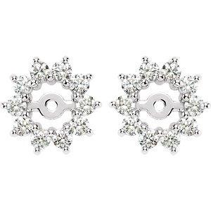 Genuine IceCarats Designer Jewelry Gift 14K White Gold Diamond Earrings Jacket. Pair 5/8 Cttw Diamond Earrings Jacket In 14K White Gold