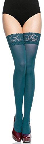 Merry Style Donna Calze Autoreggenti Microfibra 40 DEN (Petrol, 3/4 (40-44))