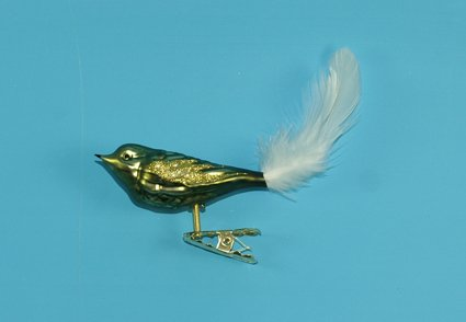 Vogel mit Federschwanz tannengrün