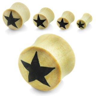 Voodoo Piercings- Body Jewellery-Flesh-Plug-Natural-Crocodile-Wood-Double-Flared-Star- 14mm