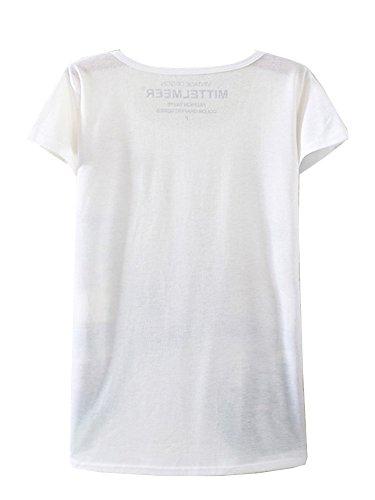 KaiTingu Women's Short Sleeve Cat Face Graphic Print Vintage T Shirt White