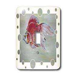 3dRose LLC lsp_46933_1 Ryukin Goldfish , Ryukin, Fantail, Fish, Aquarium Fish, Fresh Water Fish, Red and White Fish Single Toggle Switch
