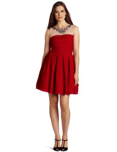 BCBGMAXAZRIA Women's Marina Tiered A-Line Skirt Dress, Rio Red, Small