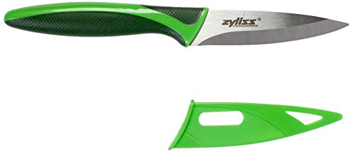 Zyliss Paring Knife with Sheath Cover, 3.5-Inch Stainless Steel Blade, Green