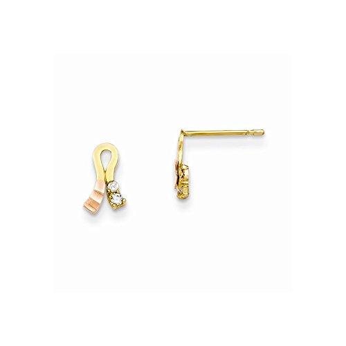 14K Madi K Yellow &Rose Gold Cz Children'S Ribbon Earrings