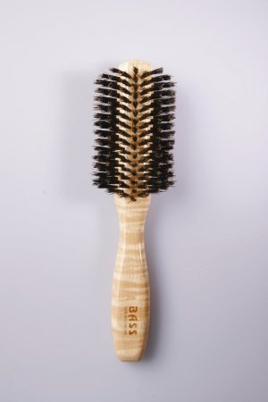 Bass Brushes Classic Half Round Style 100% Wild Boar Bristles Light Wood Handle (Bass Hair Brushes Round compare prices)