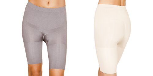 Black Fuchsia Women'S 2 Pack Seamless Firm Control Shapewear Half Slip (Xxl, Nude/Grey)