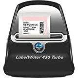 DYMO LabelWriter 450 Turbo High-Speed Postage and Label Printer for PC and Mac, USB, Printer and Software, Black/Silver (1752265)
