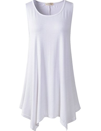Lanmo Women Plus Size Solid Basic Flowy Tank Tops Summer Sleeveless Tunic(2X, White) (Women Short Tank Tops compare prices)