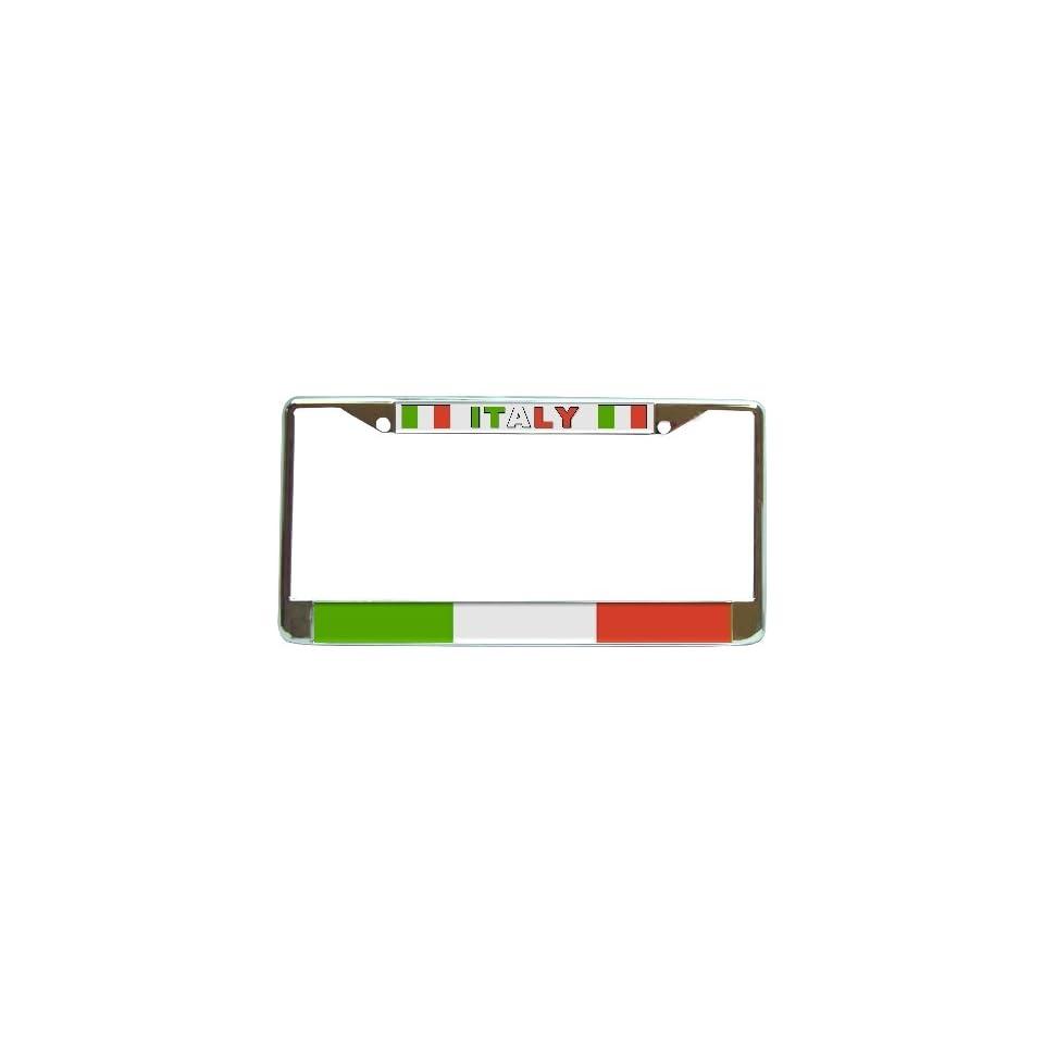 Italy Italian Flag Chrome License Plate Frame Holder