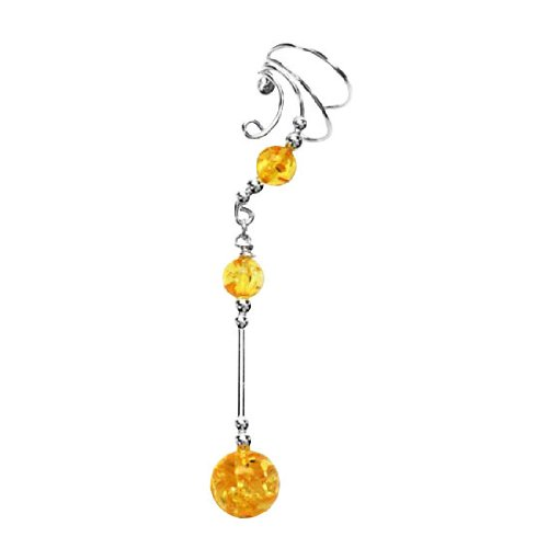 Sterling Silver Left Only Pierceless Long Dangle Sphere Yellow Amber Ear Cuff Wrap