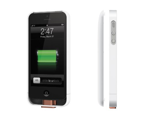 Duracell Powermat PowerSnap Kit - Wireless Charging Case and Backup Battery for iPhone 5 (White) (Duracell Charging Pad compare prices)