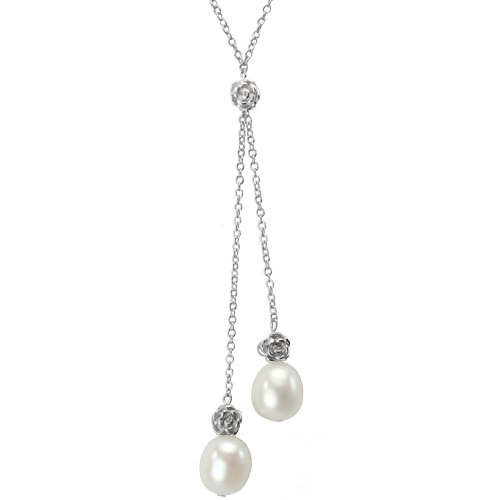 Isabella Silver Rose Twin 9-10mm Cultured Pearl Drops Necklace, White